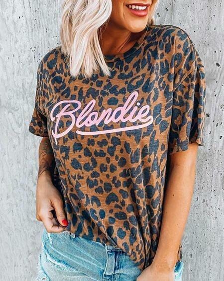 Leopard Print Short Sleeve Shirt