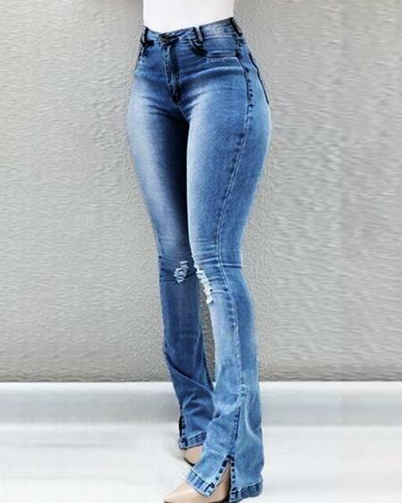 Blue High Waist Ripped Bootcut Jeans