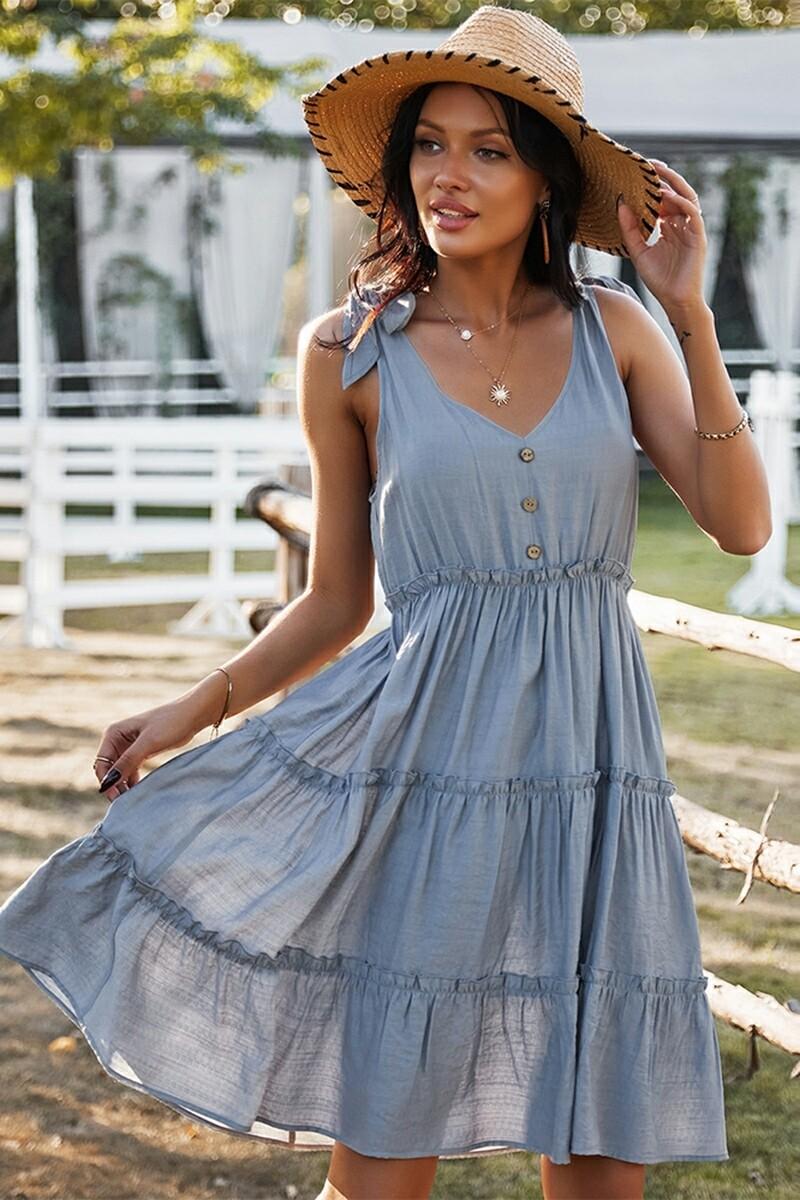 Light Blue Sleeveless V Neck Dress