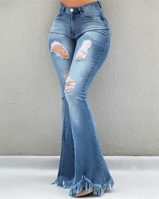 Light Blue High Waist Distressed Bell Bottom Jeans