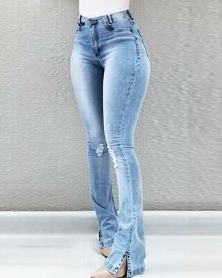 Light Blue High Waist Ripped Bootcut Jeans