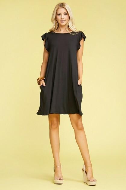 Black Ruffled Princess Seam Dress