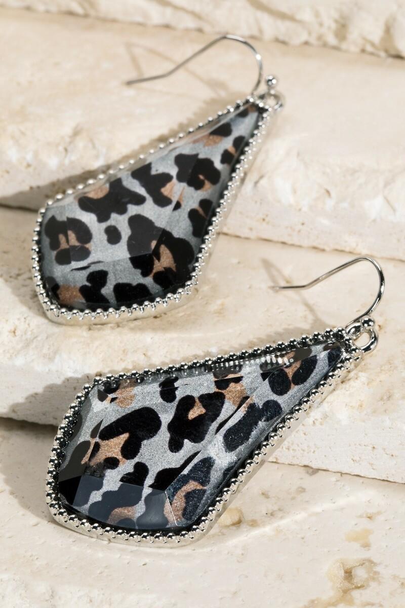 Black Cheetah With Silver Trim Earrings