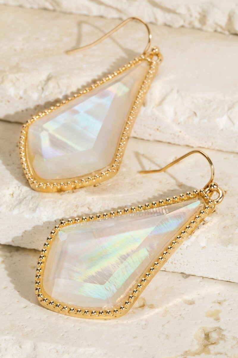 White With Gold Trim Earrings