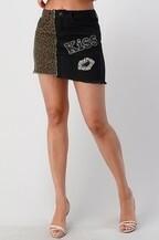 Leopard & Black Kiss Skirt