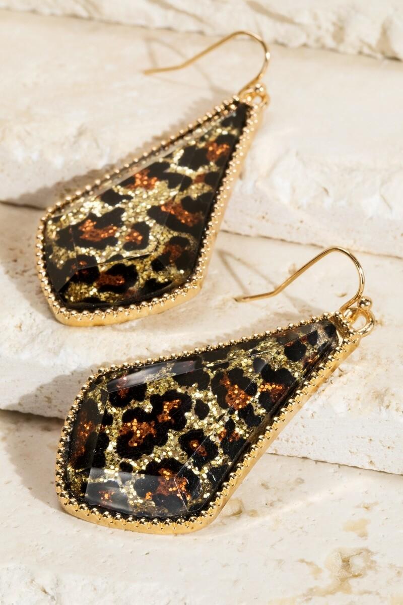 Leopard With Silver Trim Earrings