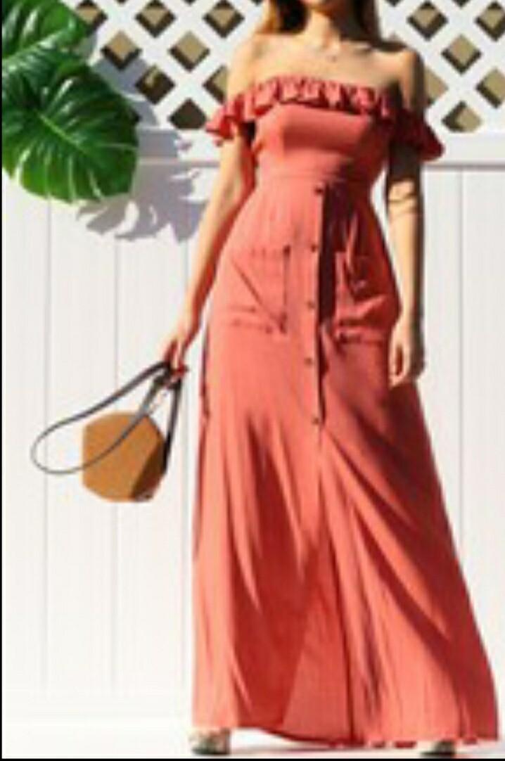 Pink Ruffled Off Shoulder Maxi Dress