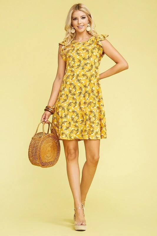 Yellow Ruffled Princess Seam Dress