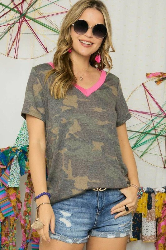 Camo And Pink Top