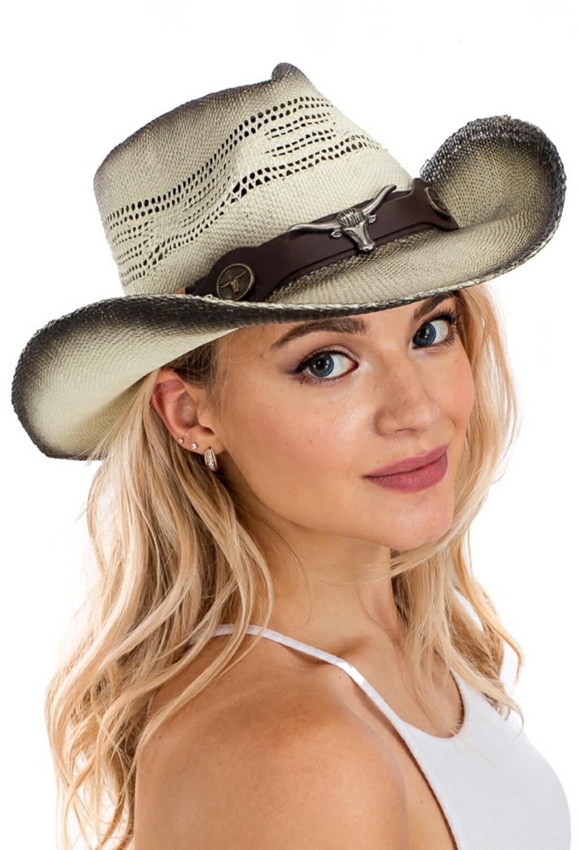 Straw Hat With Metallic Gem Bull