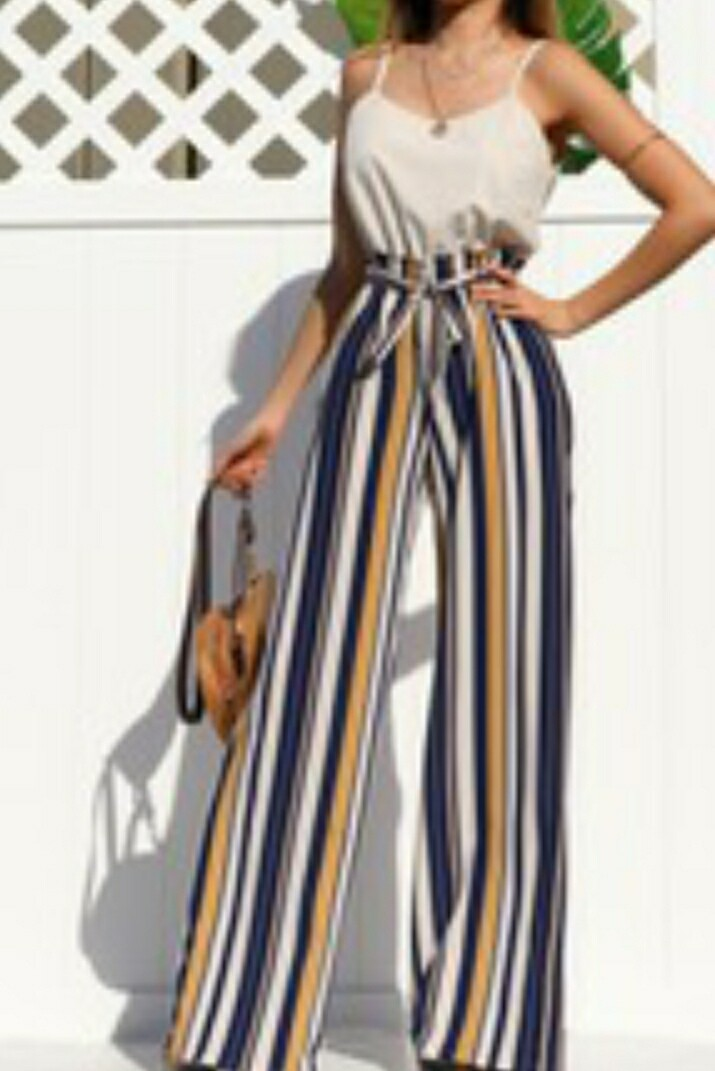 Navy & Gold Striped Jumpsuit