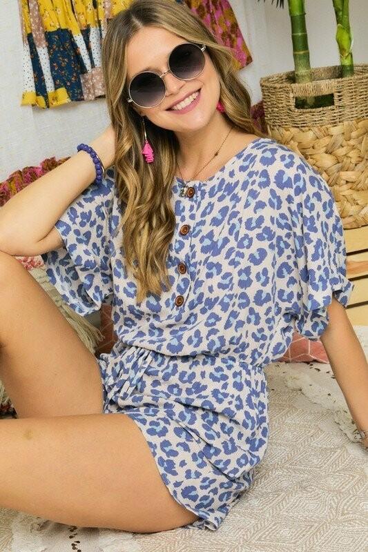 Blue Leopard Print Short Jumpsuit