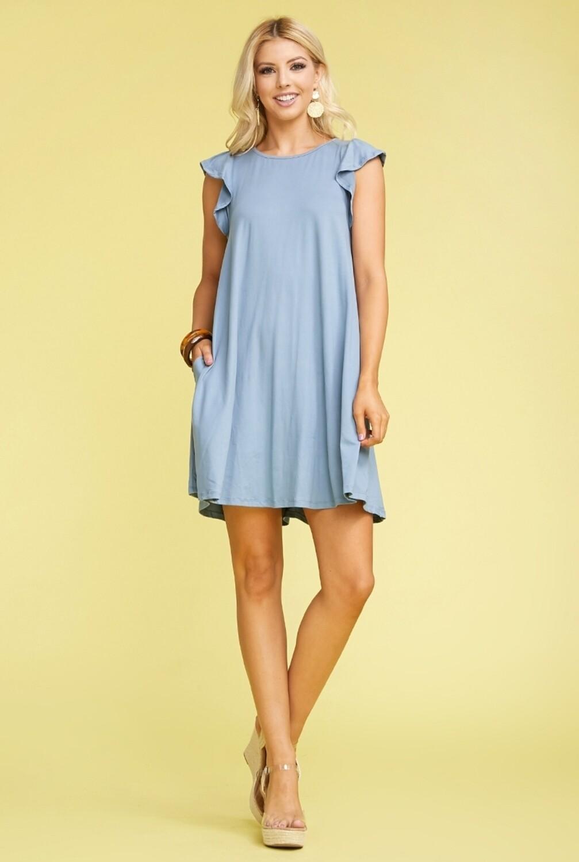 Blue Ruffled Princess Seam Dress