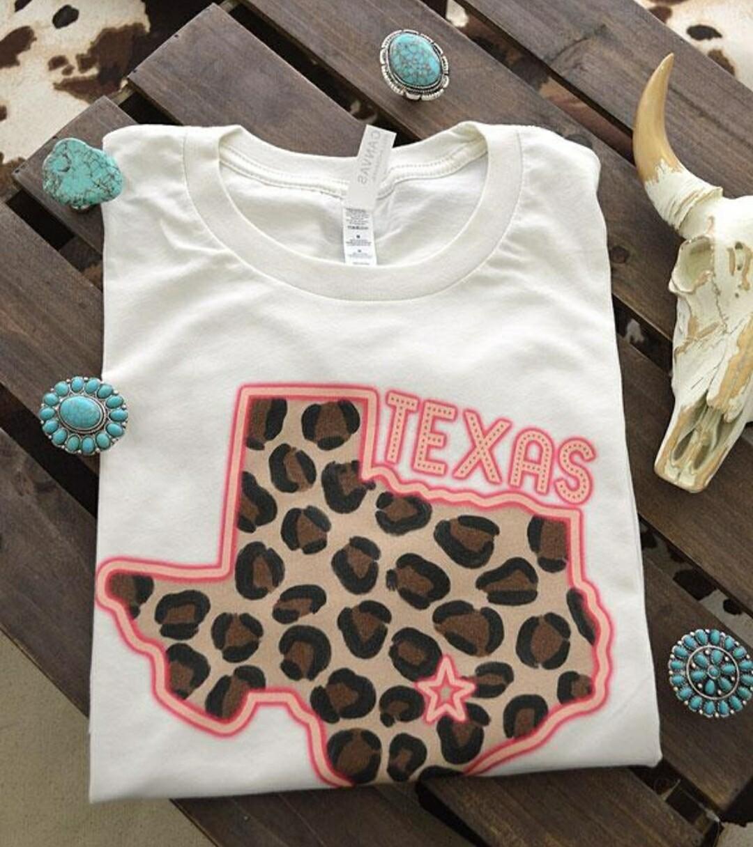 White & Pink Leopard Texas Shirt