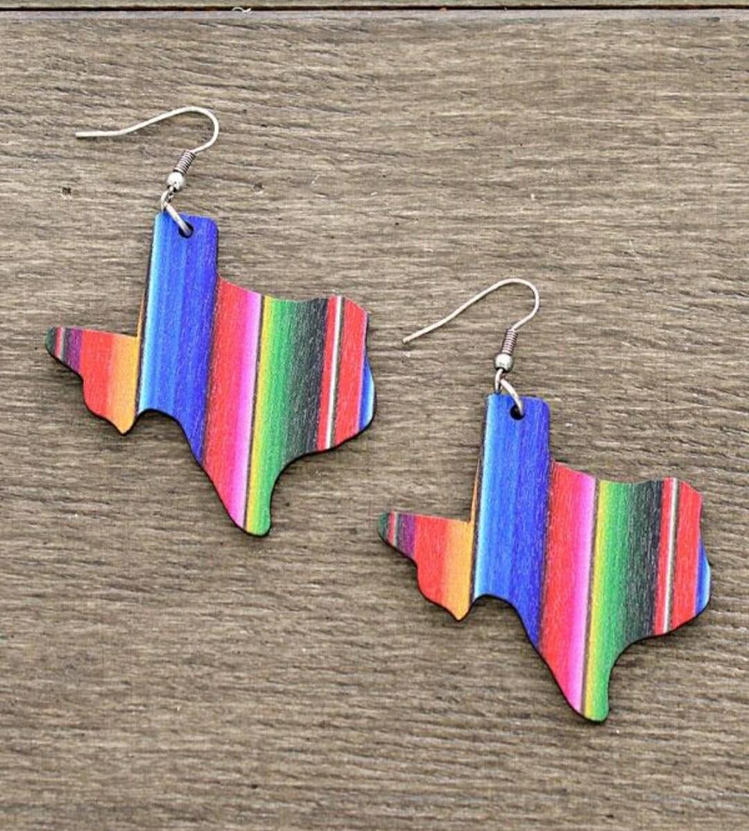 Texas Striped Wood Earrings