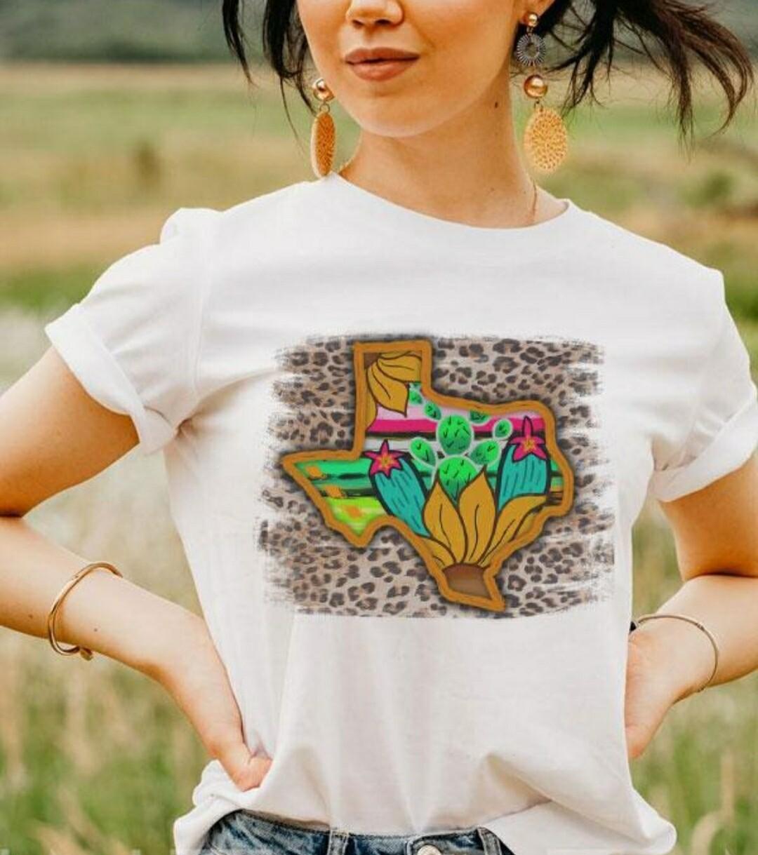 White & Leopard Texas Cactus Shirt