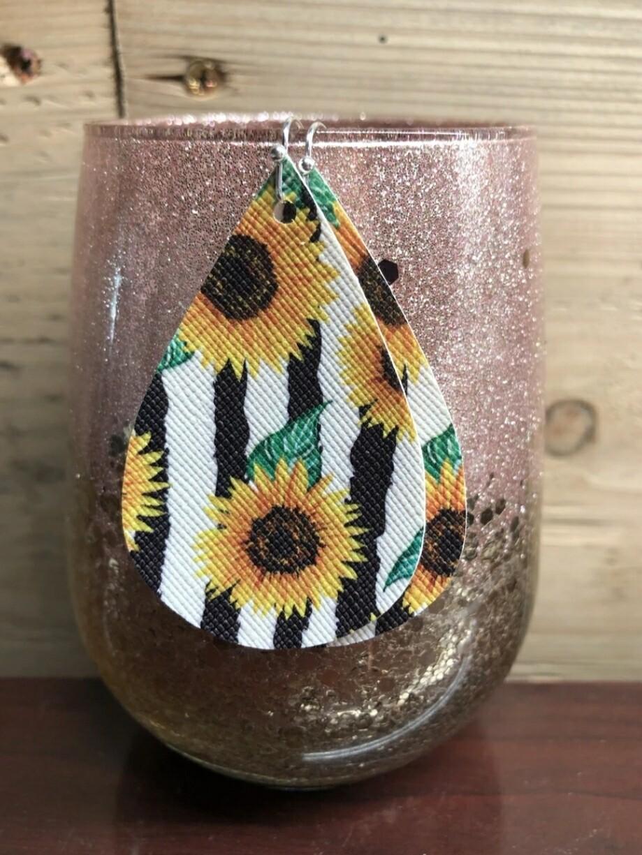 Striped Sunflower Earrings