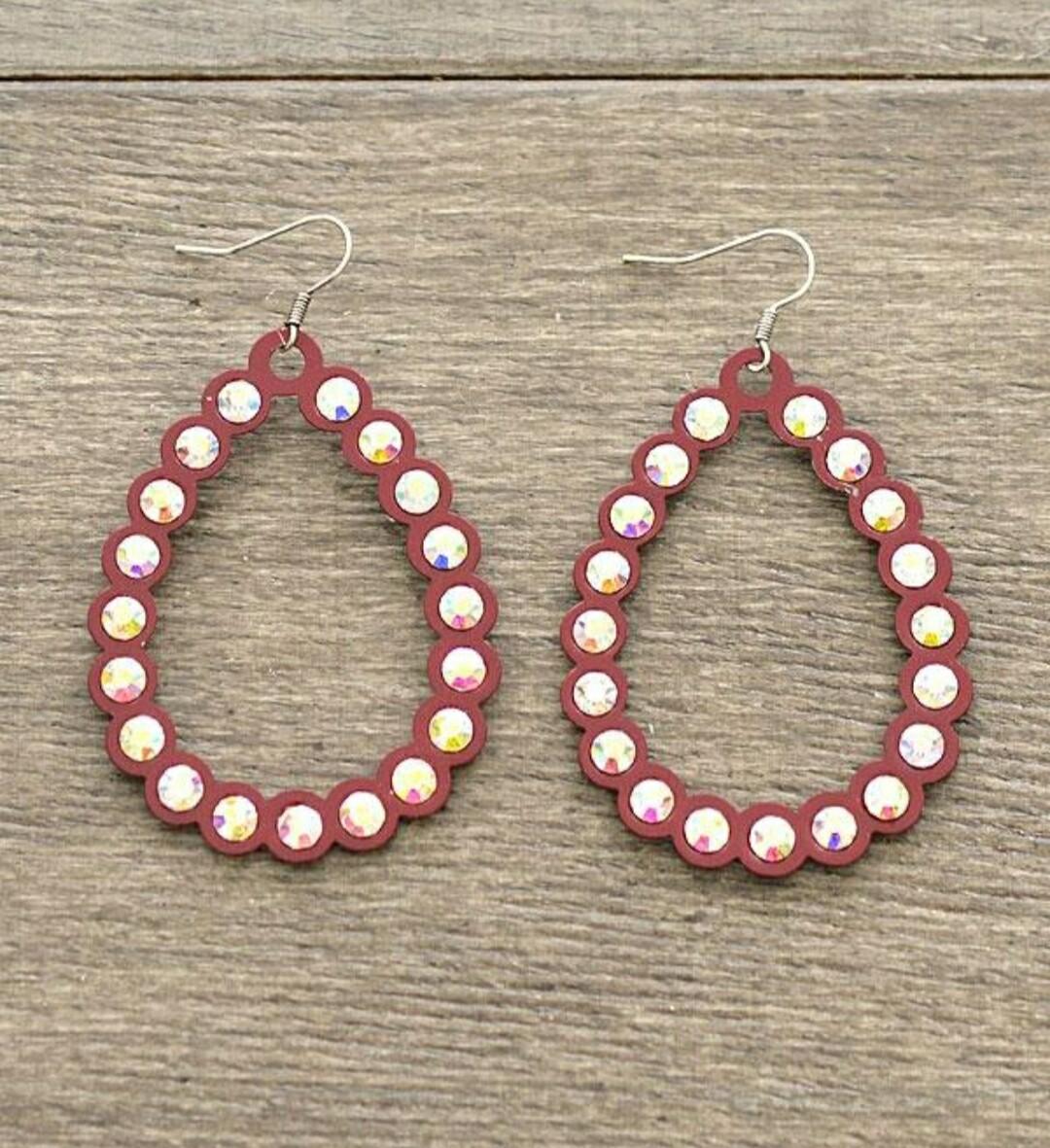 Burgundy Diamond Loop Earrings