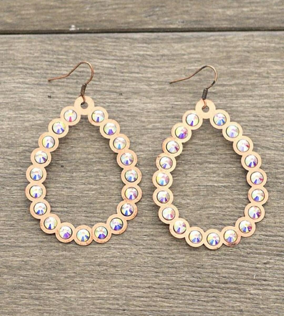 Copper Diamond Loop Earrings