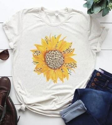 White & Leopard Sunflower Shirt