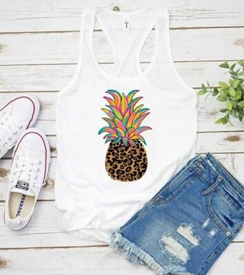 White Leopard Pineapple Tank Top