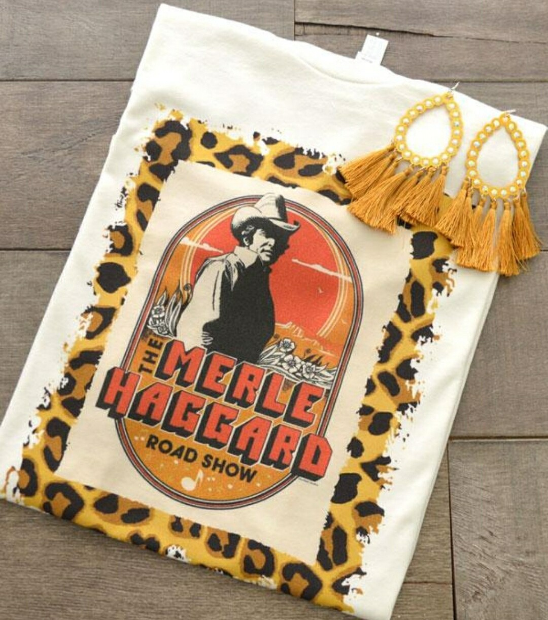 White & Leopard Merle Haggard Shirt