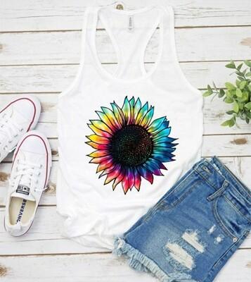 White Rainbow Sunflower Tank Top