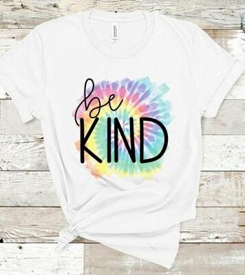 White & Tie Dye Be Kind Shirt