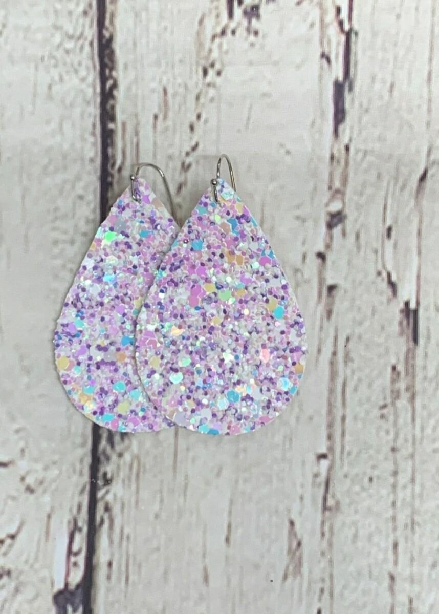 Purple Diamond Glitter Earrings
