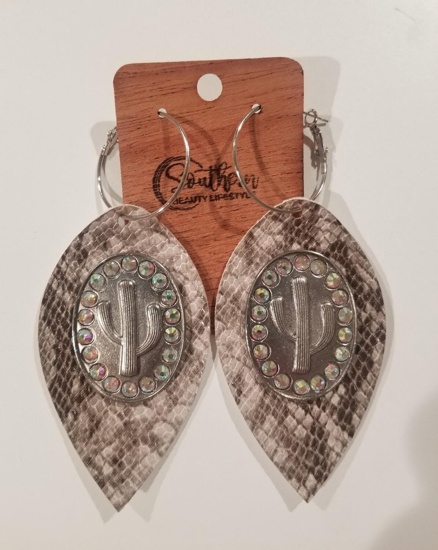Silver Snakeskin & Cactus Earrings