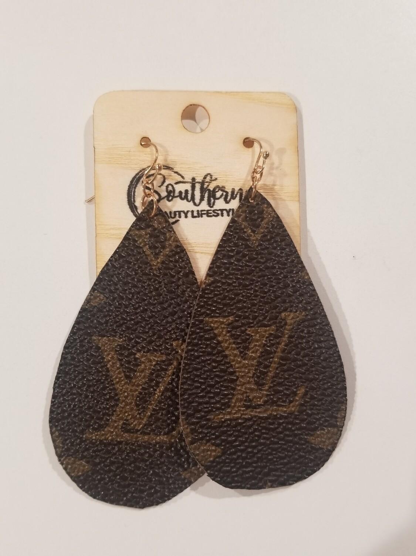 Leather LV Designer Earrings