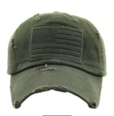 Distressed Olive America Cap