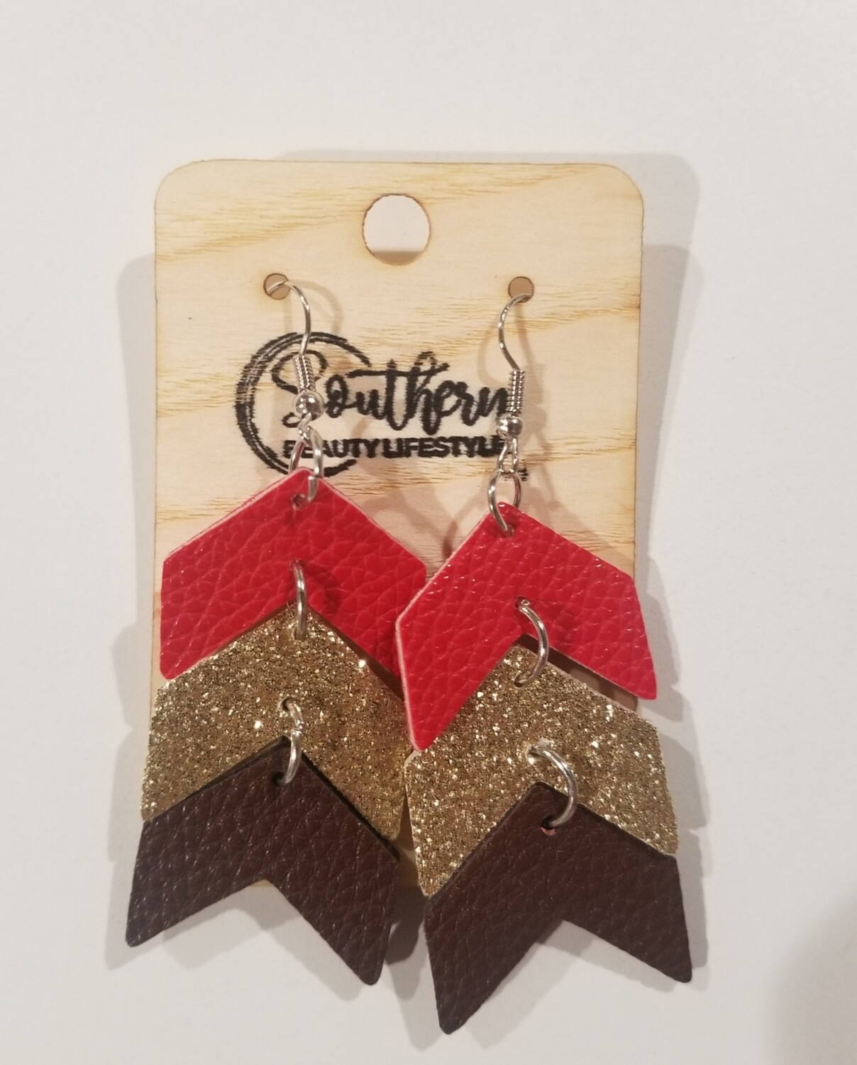 Red Gold & Brown Chevron Earrings