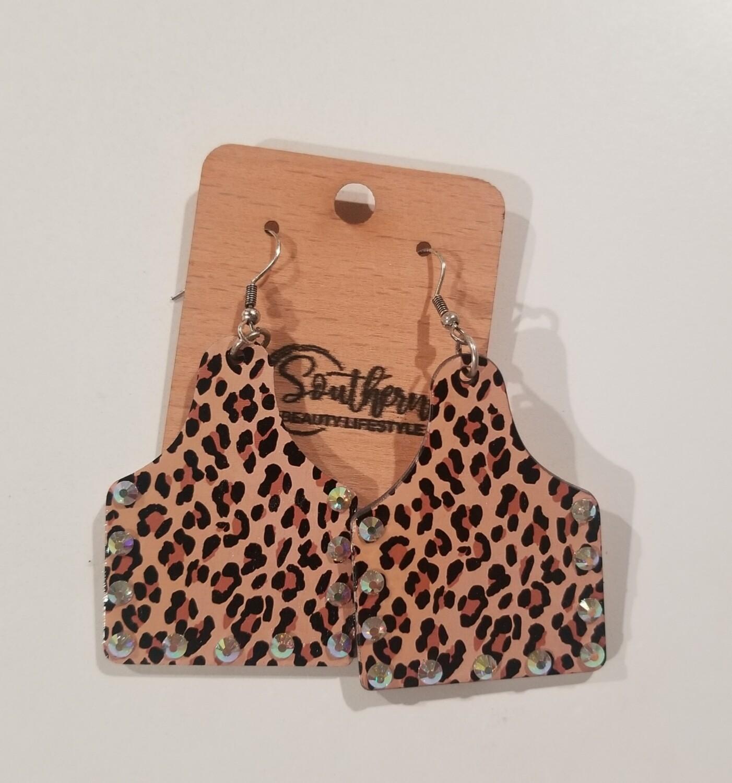 Crystal Leopard Wood Cattle Tag Earrings