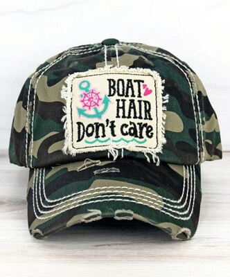Distressed Camo Boat Hair Don't Care Cap