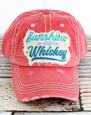 Distressed Salmon Sunshine And Whiskey Cap