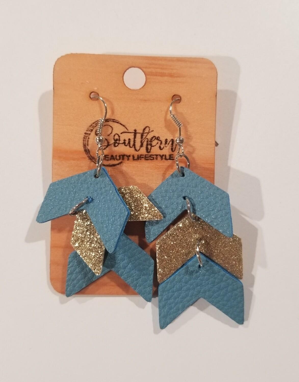 Blue & Gold Chevron Earrings