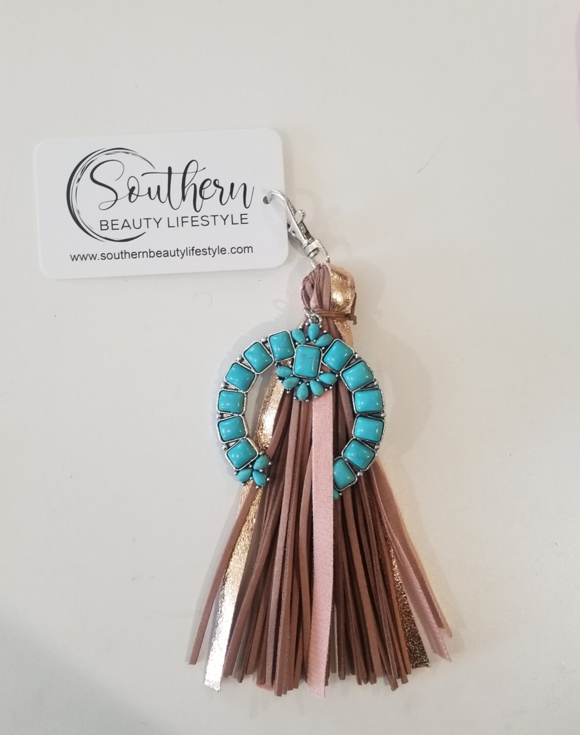 Turquoise & Brown Keychain
