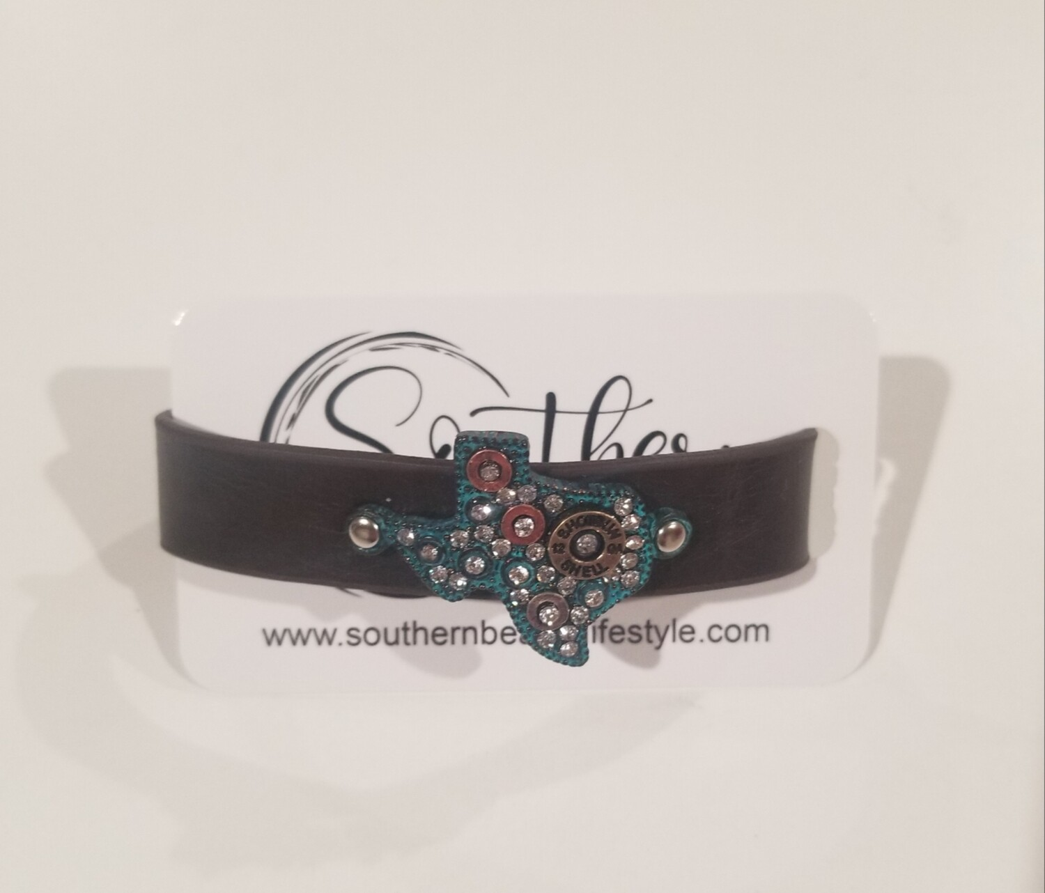Blue Texas Bracelet With Leather Strap