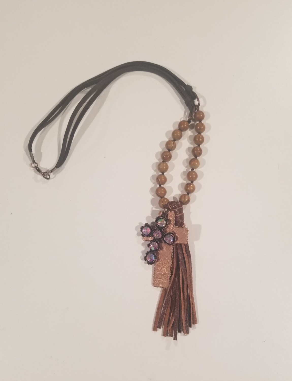 Brown Multi Color Cross Necklace