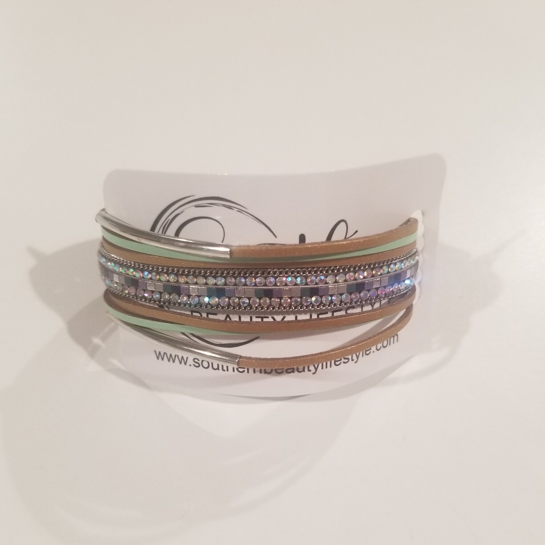 Green & Brown Multi Strand Bracelet