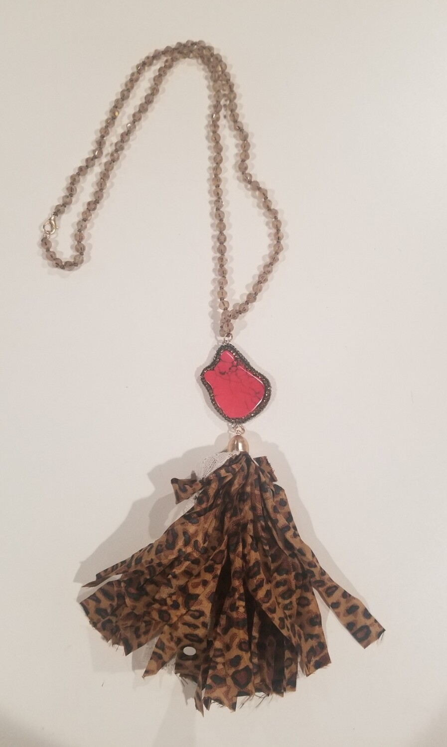 Red & Leopard Necklace