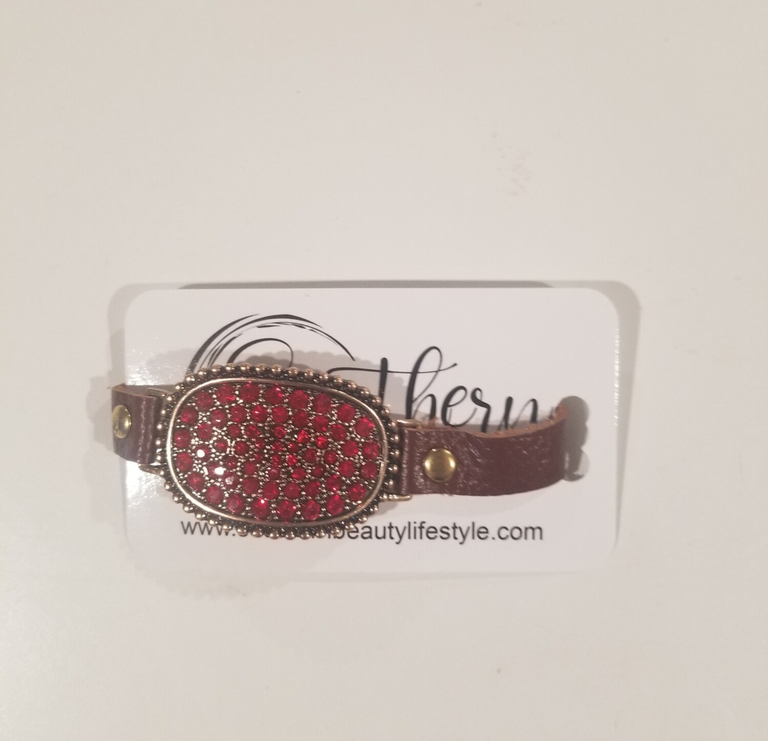 Red Stone Bracelet With Leather Strap
