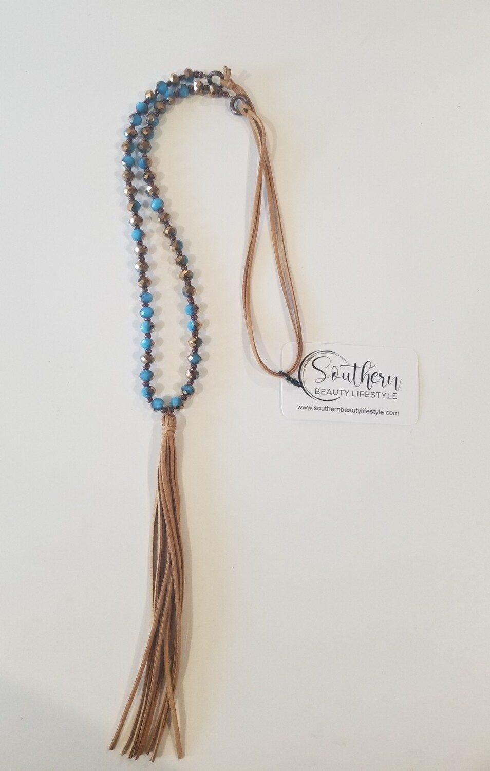 Light Rope And Blue/copper Necklace