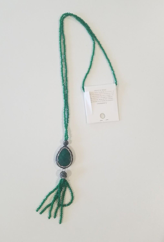 Dark Green Tassel Necklace