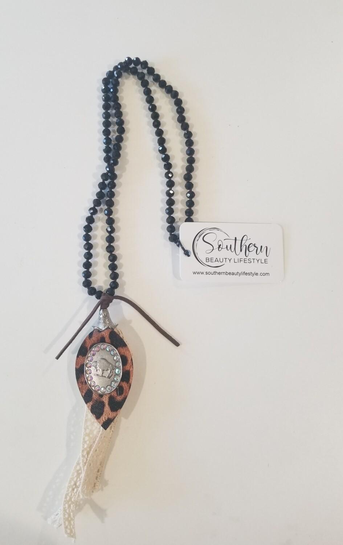 Black & Leopard Buffalo Necklace