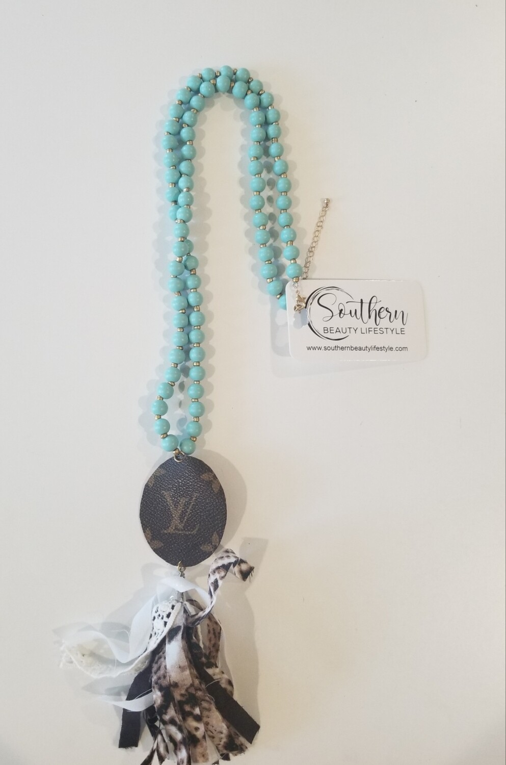 Turquoise Bead With Leather LV Necklace