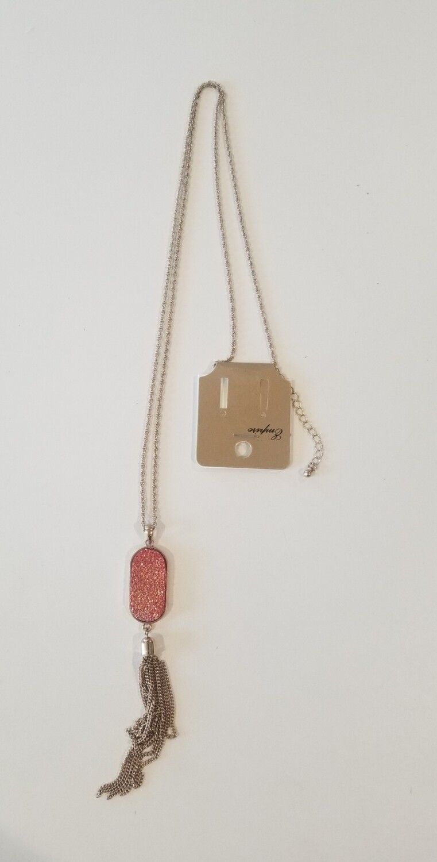 Orange With Gold Tassel Necklace