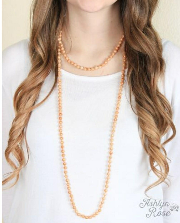 "Peach 60"" Beaded Necklace"