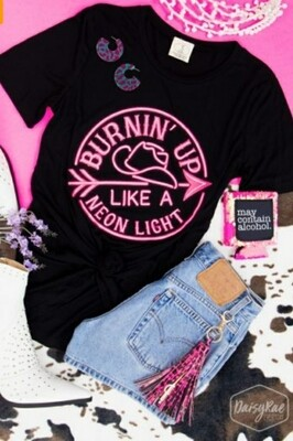 Black & Pink Burning Up Like A Neon Light Shirt